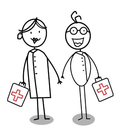 asian man laptop: Happy doctor & nurse  Illustration