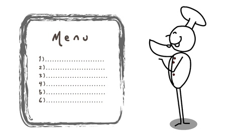 fine lines: chef banner vector  Illustration