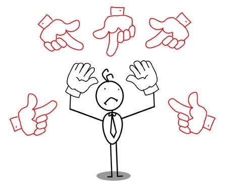 empresario triste: Empresario triste alrededor de la mano se�alando