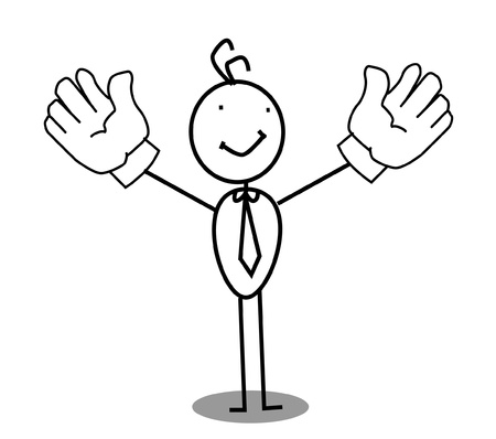 Businessman Up Two Hand  Vector