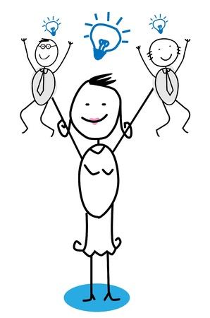 Big Businesswoman & Idea Team Stock Vector - 11815097