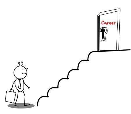 ladder of success: Businessman Career door Illustration