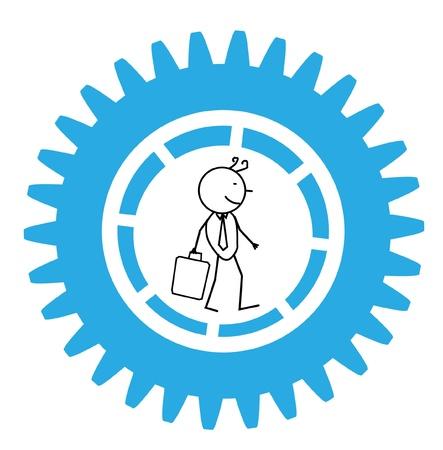 Businessman Gear Move Vector