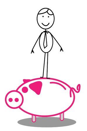 life partner: Happy Businessman & piggybank