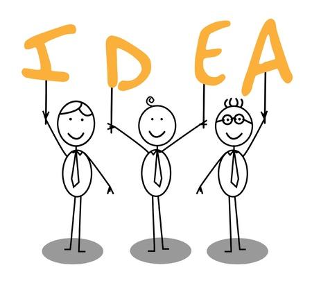 team ideas: idea text group Illustration