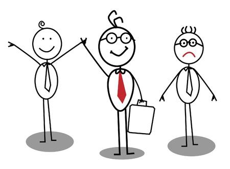 empresario triste: Hombre de negocios feliz e infeliz