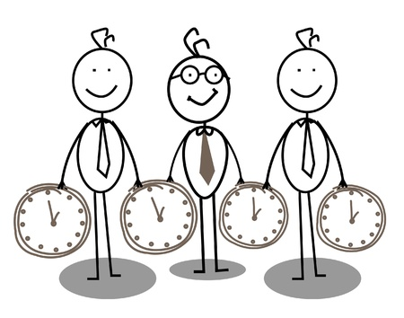 office staff: group businessman time