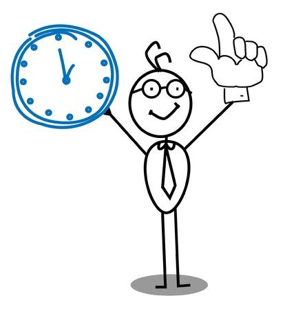 happy hours: Homme d'affaires horloge Illustration