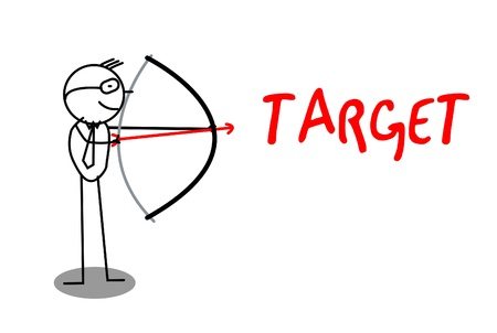 Archery Businessman Target text  Vector
