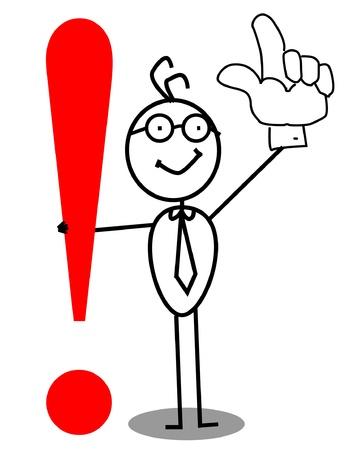 La atención de negocios signo de exclamación con la mano hacia arriba Ilustración de vector