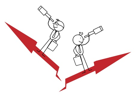 Two Businessman Find Opportunity and Up Chart  Vector