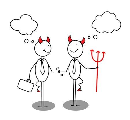 Devil Businessman Shaking Hands  Vector
