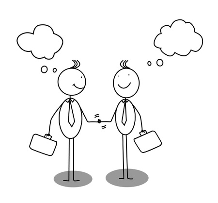 businessman shaking hands bubble speech  Illustration