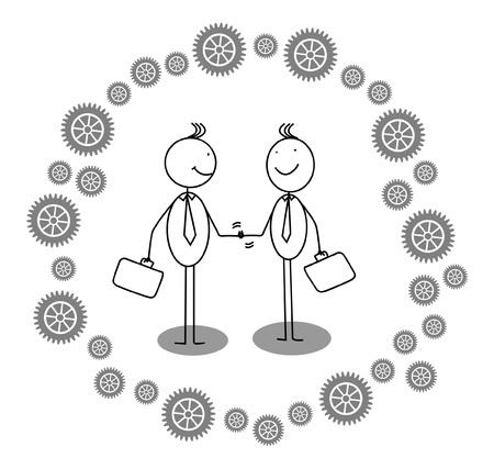 businessman shaking hands around gear progress  Illustration