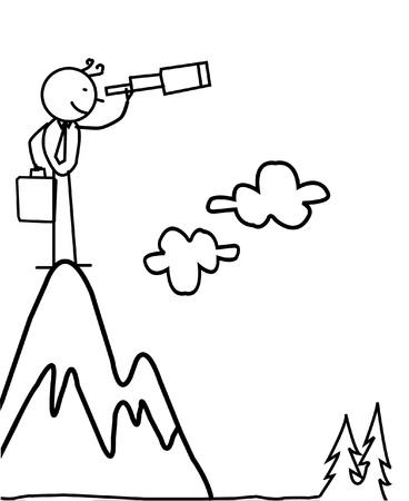 de negocios de pie y en busca de la oportunidad Ilustración de vector