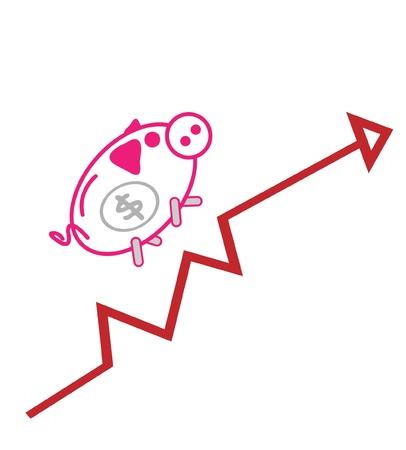 Piggy bank Up Chart Stock Vector - 12927408