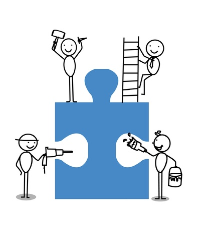business competition: Businessman Teamwork Jigsaw Illustration