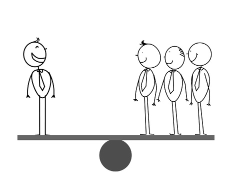 serious business: 1   3 Businessman on scales  Illustration
