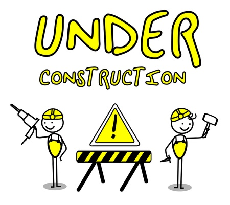 tow truck: Under construction banners  Illustration