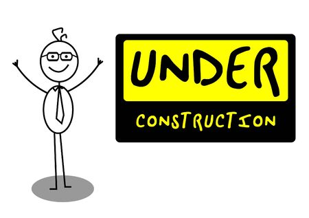 coming home: Businessman UnderConstruction Illustration