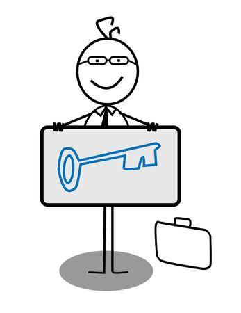 Businessman Key Banner Stock Vector - 13189346