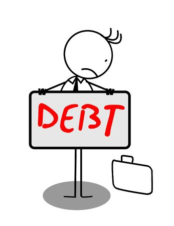 Businessman Sad Debt Banner Vector