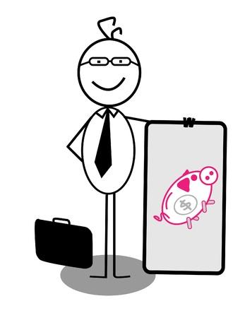 Businessman Piggy Bank Banner Stock Vector - 13189355
