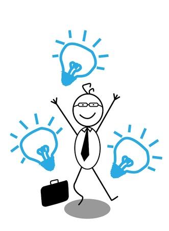 Happy Businessman   Idea Stock Vector - 13325054