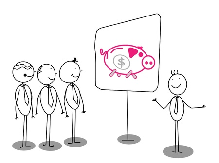 Businessman Presentation about piggybank Stock Vector - 13324995