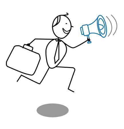 businessman and megaphone Stock Vector - 13325047