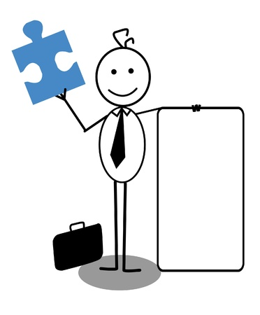 businessman with banner and Jigsaw Stock Vector - 13325005