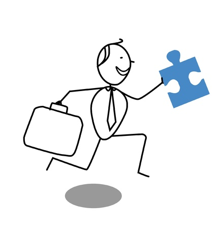 businessman and Jigsaw Vector