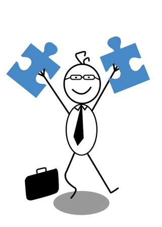 businessman and Jigsaw Stock Vector - 13325004