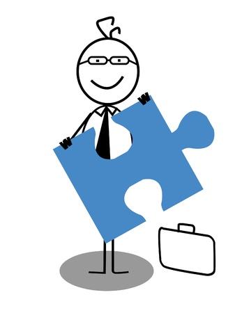 businessman and Jigsaw Stock Vector - 13324996