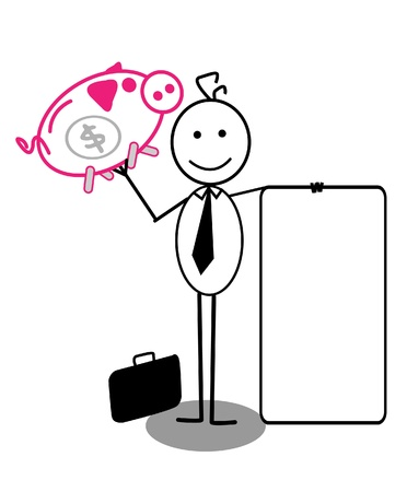 happy business man: businessman with banner and piggy bank Illustration