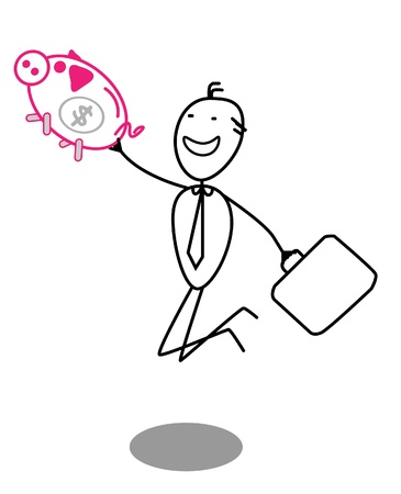 businessman and piggy bank Vector