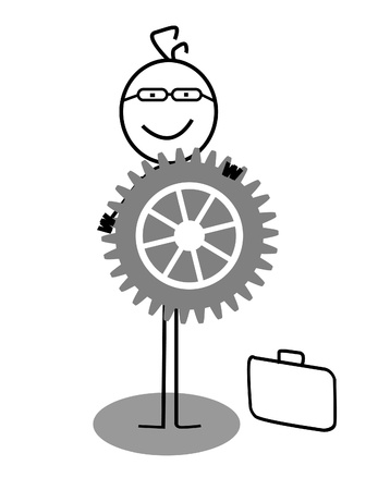 mechanical energy: happy businessman and gear Illustration