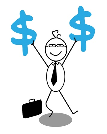 happy businessman and dollar