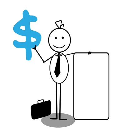 happy businessman with banner and dollar