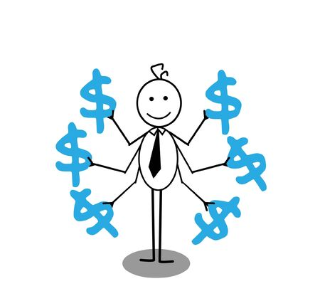 happy businessman and  dollar Stock Vector - 13325051