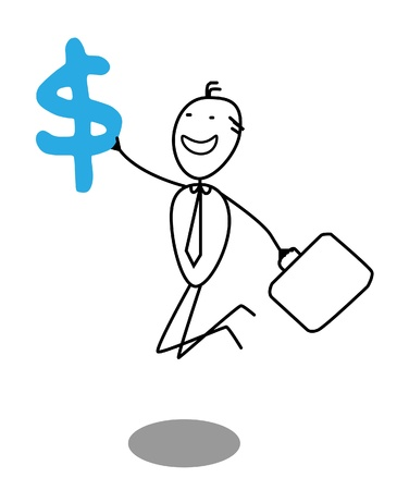 happy businessman  and dollar Stock Vector - 13325043