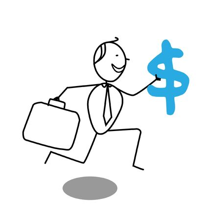 happy businessman and  dollar Stock Vector - 13325034