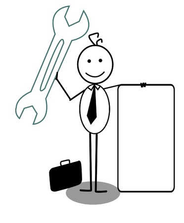 Businessman Happy with Wrench and banner Stock Vector - 13325008