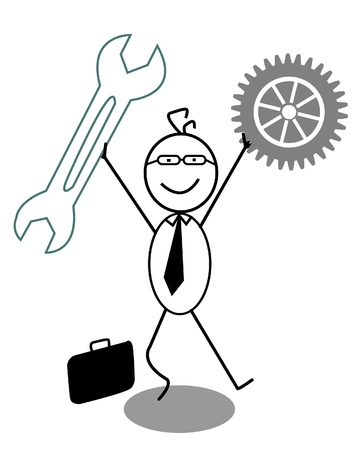 energy work: Businessman Happy with gear and Wrench