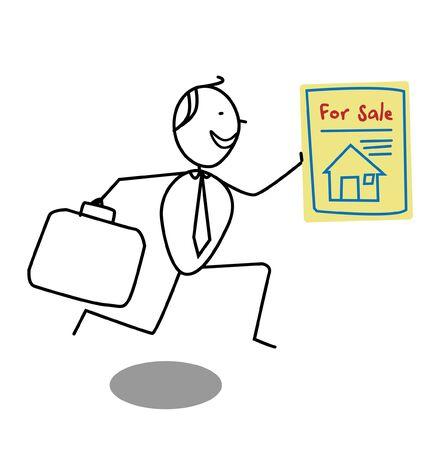 Businessman Sale House Stock Vector - 13654807