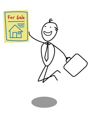 Businessman Sale House  Stock Vector - 13654810