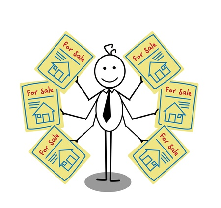 Businessman Sale House Stock Vector - 13654828