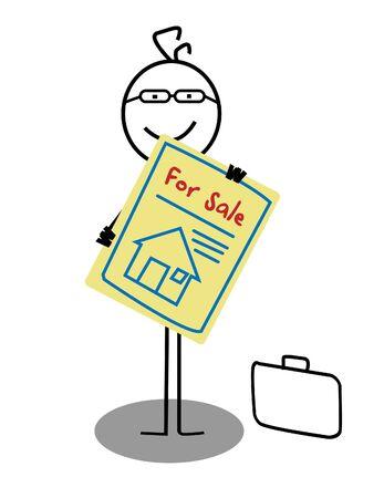 Businessman Sale House Stock Vector - 13654781