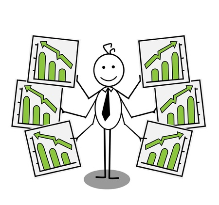 businessman Up chart Stock Vector - 13654820
