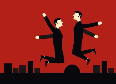 smart goals: Businessman Jump Happy